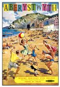 Vintage travel poster - Aberystwyth, Wales by British Railways Western Region